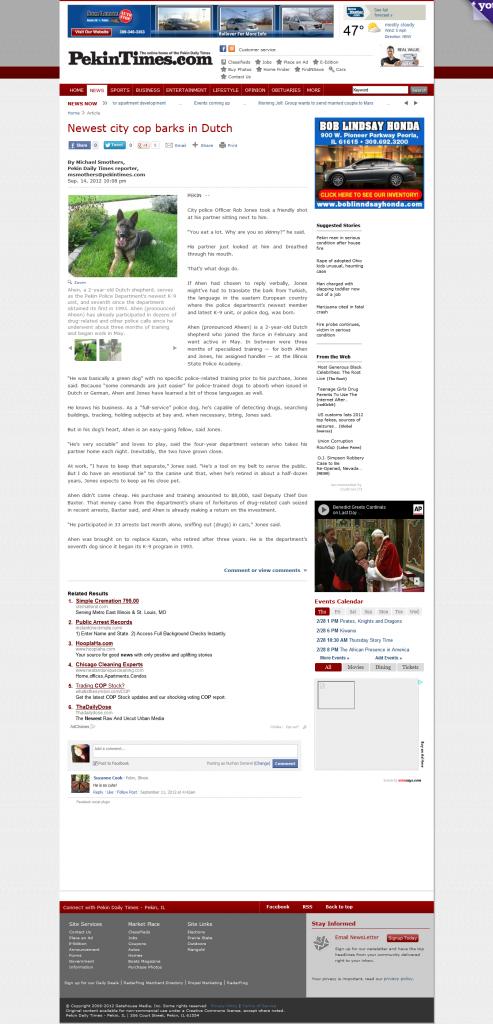 Newest city cop barks in Dutch - News - Pekin Daily Times - Pekin, IL